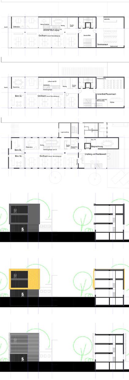 strukturierte Bürogrundrisse optimiert hinsichtlich Flexibilität und Teilbarkeit für die Vermietbarkeit in teilbaren Einheiten. Schnitt und Fassadenstudie für die Aufstockung und Erweiterung eines bestehenden Bürogebäude