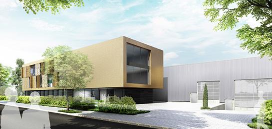 Fassadenstudie für eine Bürohausfassade eines mittelständischen Unternehmen: brass
