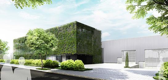 Fassadenstudie für eine Bürohausfassade eines mittelständischen Unternehmen: green