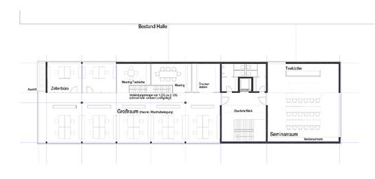 Bürogrundriss im zweiten Obergeschoss