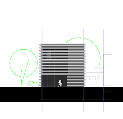 Bürogebäude – Eingangsfassade und Querschnitt