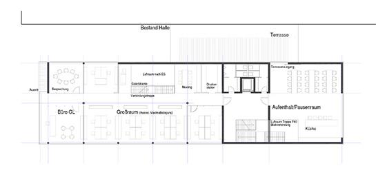 Bürogrundriss Eingangsebene und Obergeschoss