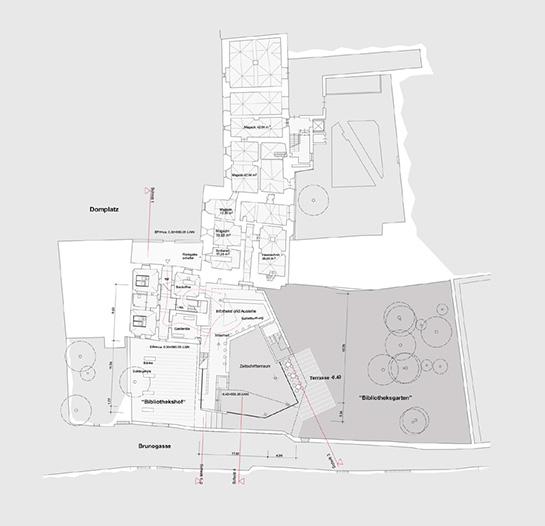 Brixen Domplatz und Brunogasse, Lageplan und Grundriss Erdgeschoß, Erhalt des historischen geschützten baumbestandes im Gartenhof