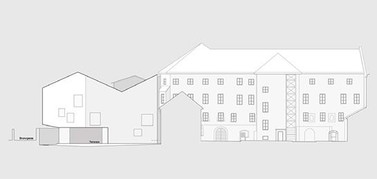 Ansicht Gartenseite und Brunogasse, abstrakter Baukörper im historischen Umfeld